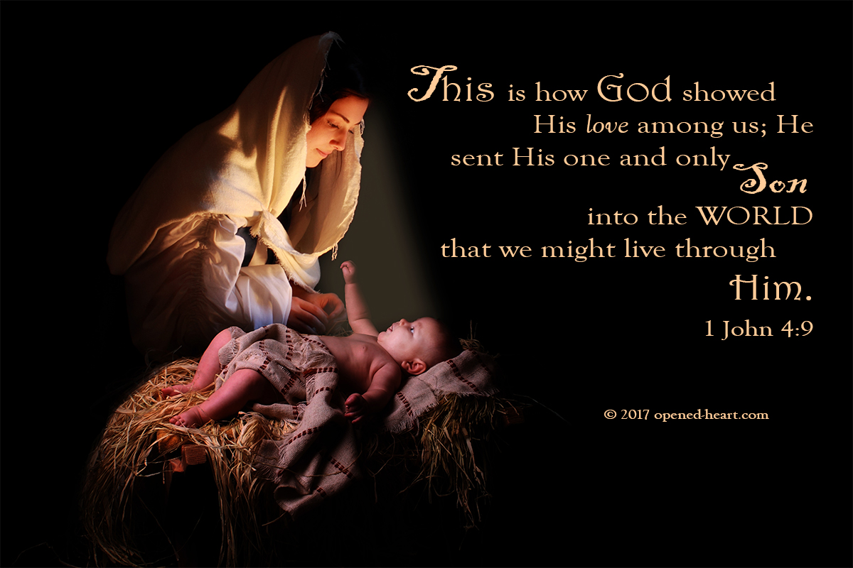 Mary and Baby Jesus with 1 Jn 4:9