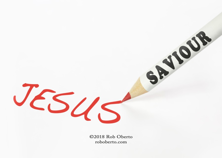 A saviour labeled pencil writing the word Jesus
